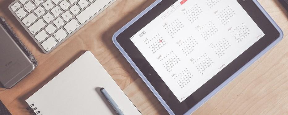 Kalender på tablet