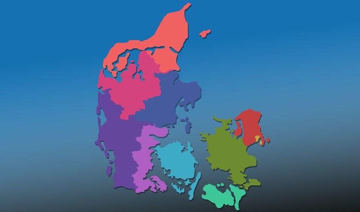 Landkort med inddeling af stifter