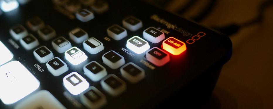 On air knap lyser på videomixer